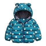 MOMKER Baby Boys Girls Padded Coat Cartoon Ears Hooded Puffer Down Jacket Dot Thick Warm Snowsuit Outwear (Green,2-3Y)