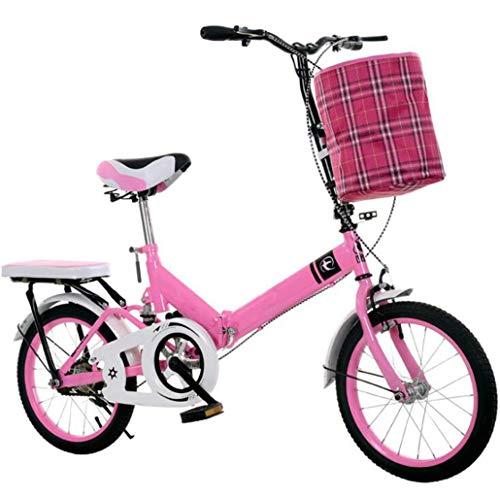 JTDSQDC Klapprad 16 Zoll Jugend-Sport-Fahrrad for Erwachsene 20 Zoll Fahrrad Portable Fahrrad Geeignet for Schulweg statt Installation (Color : Pink, Size : 16inch)