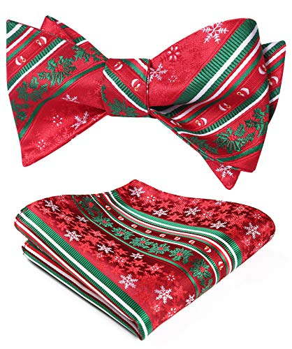 HISDERN Christmas Snowflakes Bow Tie and Pocket Square Set for Men Holiday Xmas Self Tie Bow Ties with Handkerchief Red