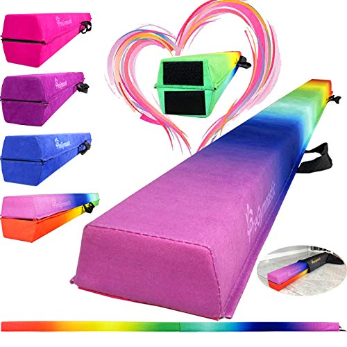 PreGymnastic Folding Gymnastic Balance Beam 8FT/9.5FT -Extra-Firm Suede Cover with Shinning Sticker and Carry Bag for Home/School/Club/Travel