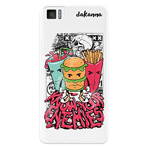 dakanna Kompatibel mit [Bq Aquaris M4.5 - A4.5] Flexible Silikon-Handy-Hülle [Transparenter Hintergr&] Fast Food & Phrase, Comic-Stil Design, TPU Hülle Cover Schutzhülle für Dein Smartphone