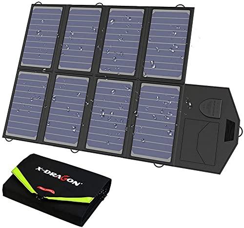X-DRAGON Solar Ladegerät 40W 18V SunPower Faltbare Solarpanel Camping (5V USB + 18V DC)...