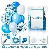 Palloncini Blu E Bianchi Azzurri Celesti Con Coriandoli 60 Pz Baby Shower Boy Decorazioni Battesimo Bambino Addobbi Per Feste Di Compleanno Pompa Elio Arco Nascita Bimbo Maschio Palloncini Compleanno