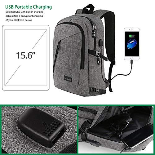 Mancro Business Laptop Backpack, Slim Anti Theft Computer Bag, resistente al agua College School Backpack w / USB Puerto de carga Se adapta a 15.6 cinch Laptop y Notebook, gris