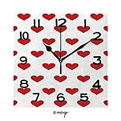 FashSam 8 Inch Square Face Silent Wall Clock Jumbo and Small Polka Dot and Diagonal Stripes Patterns in Red, Black and White Color Unique Contemporary Home and Office Decor No-25765