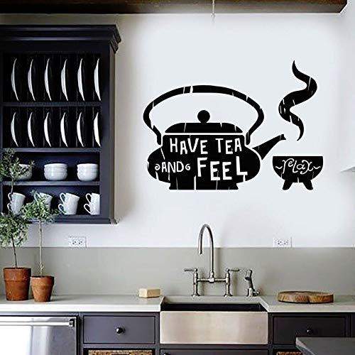 zqyjhkou Decoración para el hogar clásica Cocina Tetera café Oferta de casa de té Etiqueta de la Pared de Vinilo casa de té Restaurante Etiqueta de la pared68.4X49.2CM
