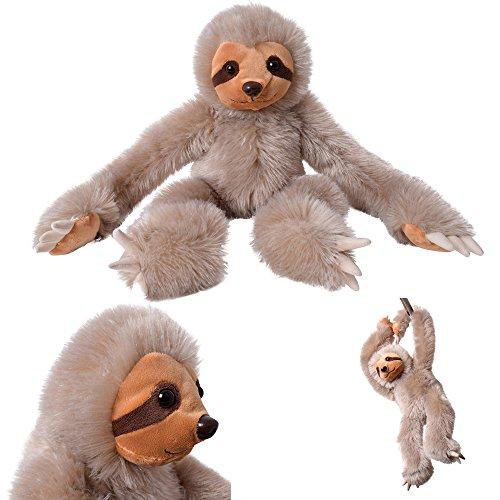 TE-Trend Deko Faultier Sloth Toy Baby Jungtier Plüschtier Kuscheltier Stofftier 30 cm braun sitzend hängend Klettverschluss