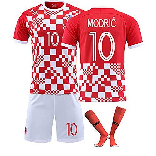 CWWAP Kroatisches Trikot 10# Modric 7# Rakitic Soccer Jersey Matchuniform , Maßgeschneiderte Trainingskleidung für Kinder mit Socken-Kits-10#-2XL