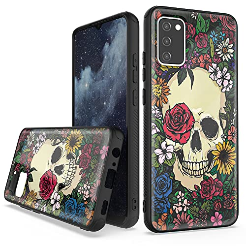 CAREDOCTOR for Samsung A02S Case with Beautiful Design, Dual Layer Hybrid Anti-Slip Shockproof Galaxy A02S Case (Skull Black)