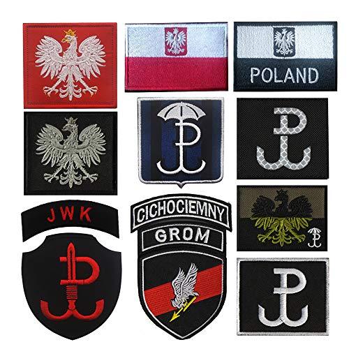 Oester-Patch Polen Politie Vlag Beveiliging Krachten Haak Backing Rood & Zwart Patch (11St)