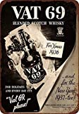 DKISEE Aluminum Safety Sign 1936 Vat 69 Scotch Whiskey Durable Rust Proof Warning Sign Aluminum Metal Sign 12'x18'