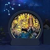 GEZHF Luz 3D y sombra papel talla luces anime constelación luces se pueden personalizar regalo creativo luces de noche hogar dormitorio arte Navidad y Halloween talla decoración Acuario
