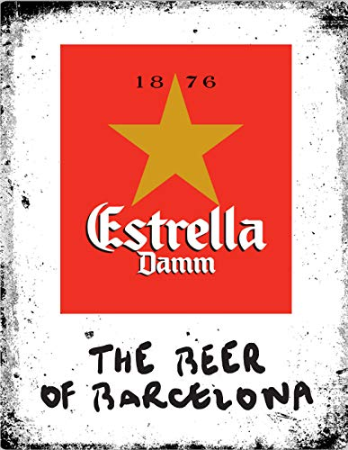 Lewistons-Of-London Estrella Damm Beer Lager Spain Barcelona inspired Vintage Retro Man Cave Bar Pub Shed Novelty Gift Tin Wall Décor Metal Sign