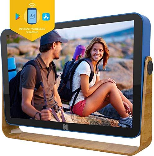 KODAK Digitale Bilderrahmen 10 Zoll WLAN Wiederaufladbar, 16GB RAM WiFi Elektronischer Bilderrahme mit der Funktion Foto/Video/Kalender/Wecker/Wetter und Standortaktualisierungen, RCF-108 Blau