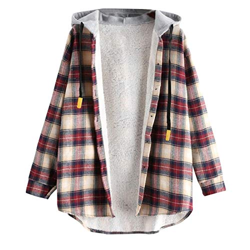 DEATU Women's Casual Plaid Button Hooded Jackets Curved Hem Plush Lined Warm Coats Jacket Long Sleeve Shirts Tops Hoodies (Khaki,Medium)