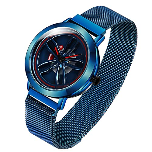BBZZ El Tiempo Viene a revolucionar el Reloj Giratorio de la Tendencia Masculina Personalidad Simple Estudiante Fresco Estudiante Guapo Reloj de Cuarzo,Azul