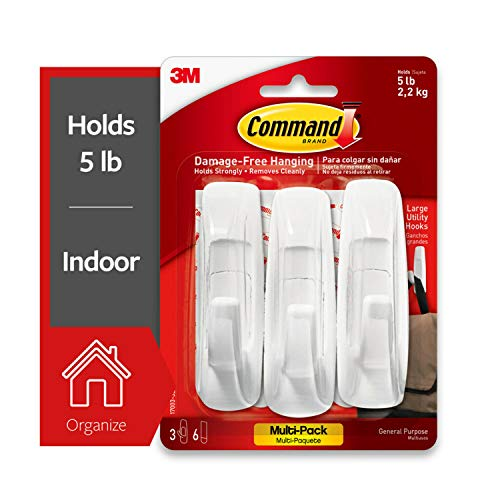 Command Large Utility Hook, White, 3-Hooks, 6-Strips (17003-3ES), Organize and decorate your dorm