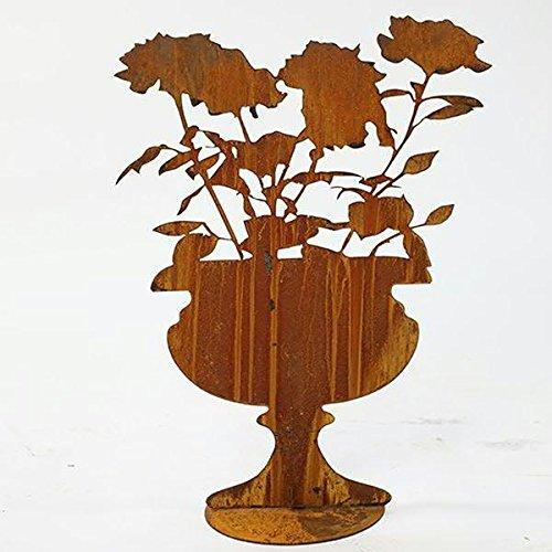 Rost Deko - XL Amphore/Pokal mit Rosen auf Bodenplatte (fester Stand) - Metall/Edelrost - Höhe 70cm - Gartendeko & Tischdeko
