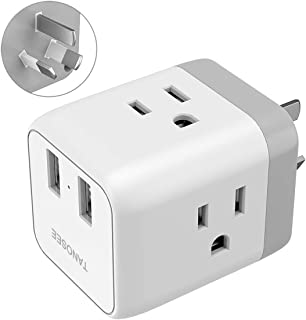 Australia, New Zealand, China 5 in 1 Input Travel Plug Adapter, American 2 USB Charger 3 Prong Grounded Plug to Australian New Zealand Chinese Multi Outlet, Australia Type I Power Adaptor