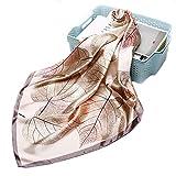 Pañuelo de seda de diseño elegante, 90 x 90 cm, para mujer con tacto de seda, para primavera y verano, de color dorado