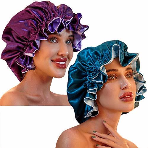 Satin Bonnet for Women, Silk Bonnets for Curly Hair Bonnets for Black Women Satin Bonnet Sleep Cap (Purple/Teal)