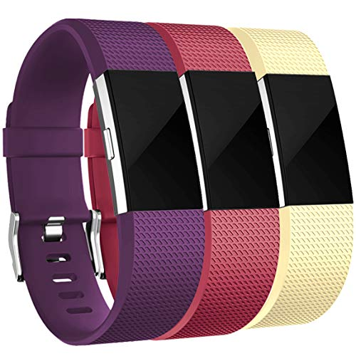 Maledan Bands Replacement Compatible with Fitbit Charge 2, 3 Pack, Red/Plum/Mellow Yellow, Large