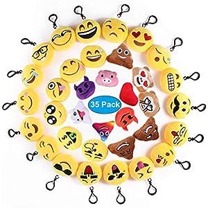 51MPJCFWpQL. SS300  - Ventdest Mini Emoji Llavero, 35 PCS Emoticon Llavero Emoji Encantadora Almohada para la decoración de Bolsos Mochilas y Llaves Regalitos para niños cumpleaños Colgante de decoración para Coche
