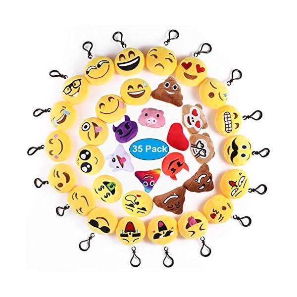 51MPJCFWpQL. SS600  - Ventdest Mini Emoji Llavero, 35 PCS Emoticon Llavero Emoji Encantadora Almohada para la decoración de Bolsos Mochilas y Llaves Regalitos para niños cumpleaños Colgante de decoración para Coche
