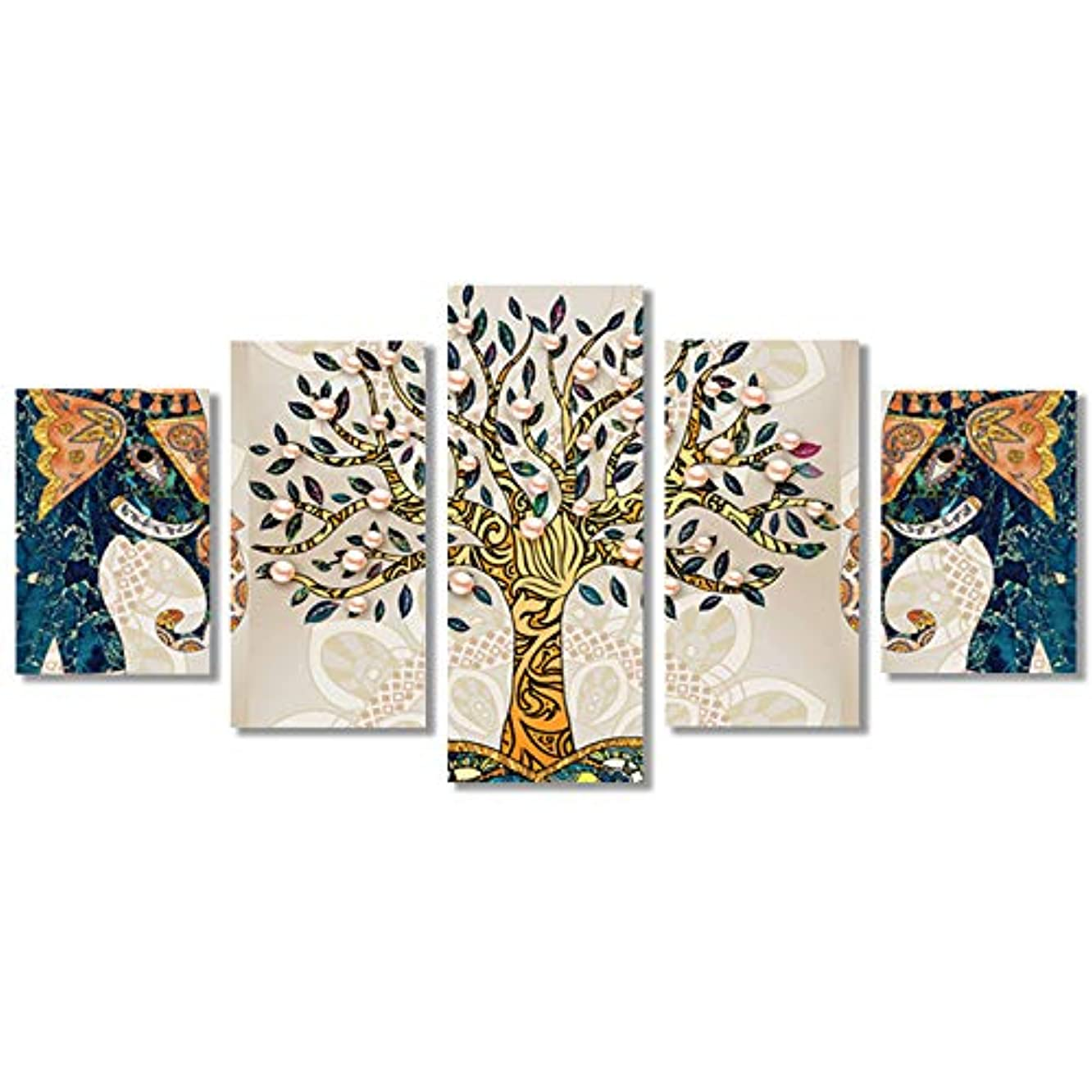 DIY 5D Diamond Painting Kit Tree for Adults, MaxSweetun Full Drill Diamond Embroidery Cross Stitch Picture Arts Craft for Home Wall, 5 Panels of Splicing Painting, 95x45cm