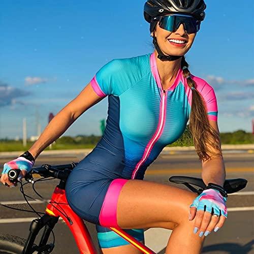Triathlon Skinuit Anzug Fahrrad Kurzer Frauen Sommer Radfahren Kleidung Set Sportwear (Color : Skinsuit 1, Size : S)