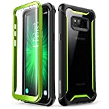 i-Blason Ares Full-Body Rugged Clear Bumper Case with Built-in Screen Protector for Samsung Galaxy S8+ Plus 2017 Release, Black/Green