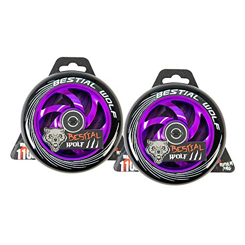 Kit 2 TWISTER-110 Rueda Bestial Wolf 110 mm para patinetes Pro Scooters Ideal para Parck y Freestyle (Violeta)