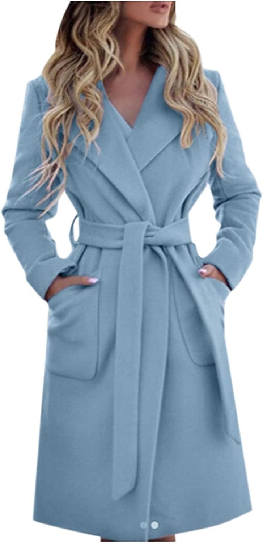 Women Pure Color Trench Coats Large Size Slim Lapel Outwear Faux Woolen Long Coats Lightweight