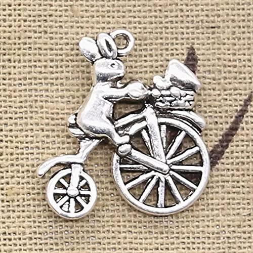 FZSWD 12 Uds encantos Conejo Montando Una Bicicleta 23X22 mm Colgantes Chapados en Color Plata Antigua Que Hacen DIY Joyería de Color Plata Tibetana Hecha A Mano