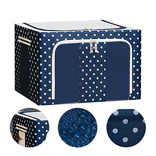 Oxford Cloth Steel Frame Storage Box Foldable, Clothes Storage Bags Organizer Container Bins, Waterproof Dust Moisture Protection (44L,Blue)