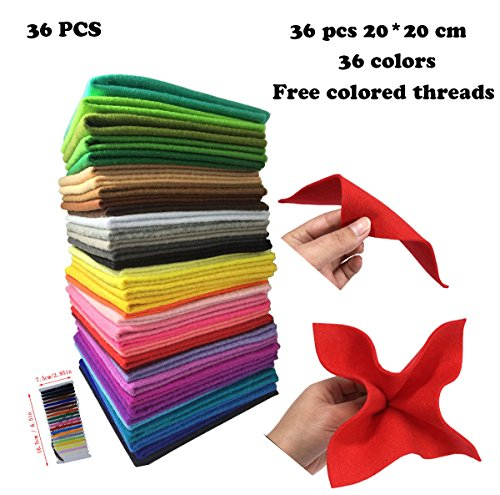 "levylisa 36pcs (8"" x 8"")1.4mm Thick Soft Assorted Felt Sheets,Felt Nonwoven Fabric Sheet,Felt Kit,Felt Fabric Crafting,Sewing Felt Material,Blend Felt Fabric,Assorted Colors with Thread Bag"