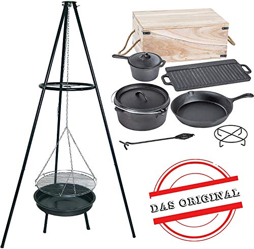 ACTIVA Schwenkgrill Grill Dutch Oven Set, Dreibein, Holzkiste, Topf, Pfanne, Grillrost, Gusseisen, Gulaschkessel