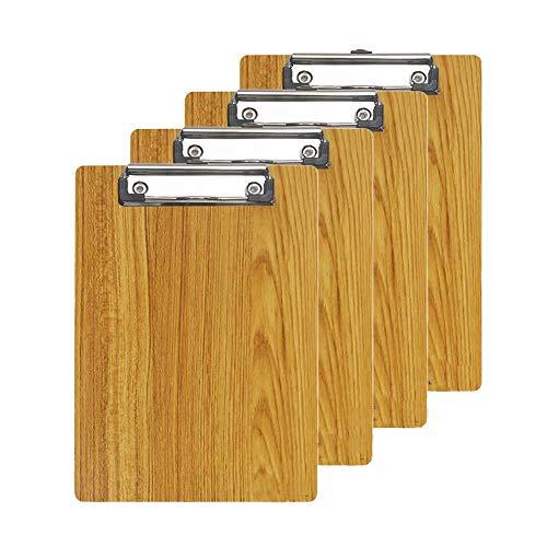 Klemmbretter/Clipboard/Schreibbrett A4- GossipBoy 4er-Set Moderne Hohe Qualtiy Dichte Bord Holzmaserung Abgerundete Ecken Zwischenablage(Braun)