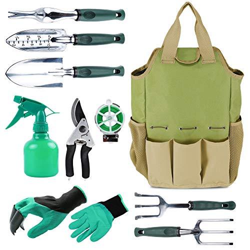 Herramienta de jardín organizador bolsa con 10 piezas herramientas de jardín, mejor Set de regalo de jardinería, verduras Kit de herramienta de jardín, herramientas de jardinería mano set bols