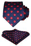 HISDERN Dot Floral Lenço de Casamento de gravata para homem e lenço de bolso quadrado vermelho/azul escuro.