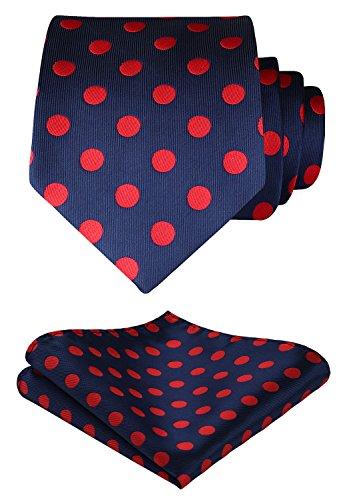 HISDERN Dot Floral Wedding Tie Panuelo para hombres Corbata y bolsillo cuadrado Rojo/azul marino
