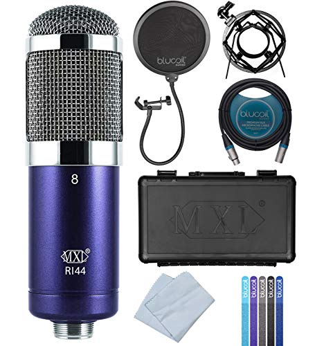 MXL R144 Ribbon Microphone for Vocals, Brass, Horns, Acoustic and Electric Guitars Bundle with Blucoil Pop Filter Windscreen, 10-FT Balanced XLR Cable, and 5-Pack of Reusable Cable Ties