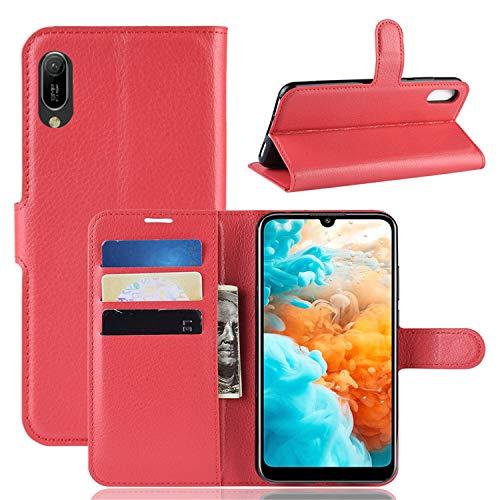 betterfon Huawei Y6 2019 Hulle Handy Tasche Handyhulle Etui Wallet Case Schutzhulle mit MagnetverschlussKartenfacher fur Y6 2019 Rot