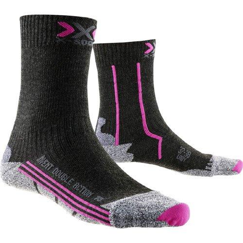 X-Socks - X100053 - Double Invent Mid Lady - Chaussettes de Randonnée - Femme - Noir (Anthracite/Fuchsia) - Taille: 39-40