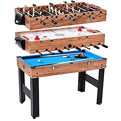 Lancaster 3 in 1 Pool Billiard, Slide Hockey, Foosball Combo Arcade Game Table by Lancaster Gaming Company