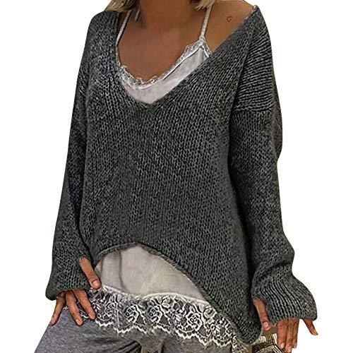 Damen Pullover Sweatshirt Minikleid Ronamick Gestrickt V–Ausschnitt Unregelmäßig Warm Solide Stricken Strickpulli Strickjacke Strickpullover für Damen(S, Grau)