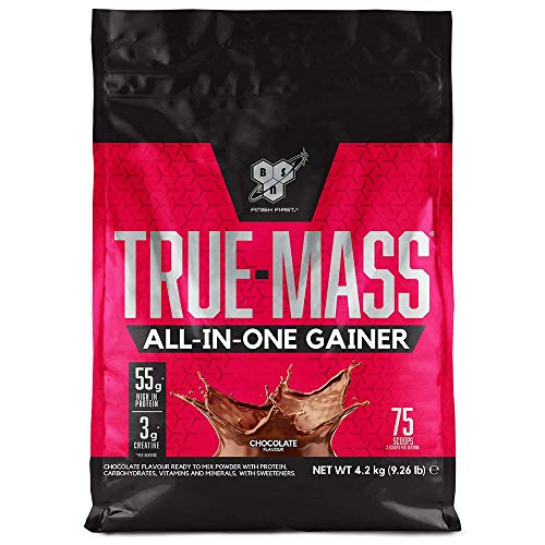 BSN All In One Weight Gainer Eiweißmischung Pulver (enthält Whey, Casein, Glutamin, Kreatin, Vitaminen und Kohlenhydrate, Protein Shake von BSN) chocolate, 25 Portionen, 4,2kg