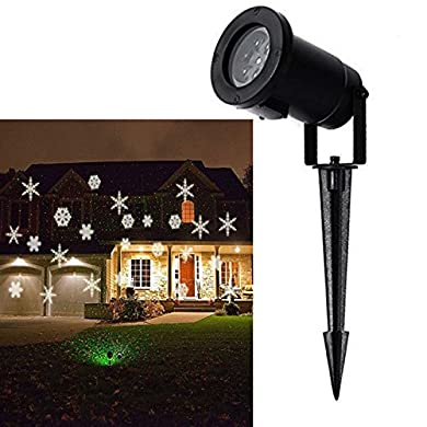 Christmas Projector Lamp Moving White Snowflake LED Landscape Projection Lights Outdoor/Indoor Decor Spotlights Stage Irradiation for Christmas Party Holiday Home Decoration Garden Tree Wall