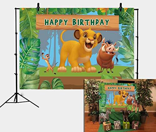 Daniu Cartoon Lion King Simba Tema Sfondo Fotografia Sfondo Giungla Safari Sfondo per Festa di Compleanno Bambini Bambini Festa Studio Foto Sfondo Puntelli 210cmx150cm