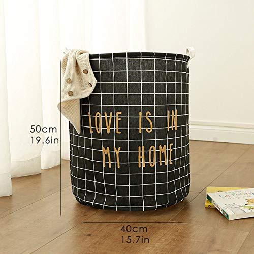 Wasmand LKU Picknickmand rek wasmand speelgoed opbergdoos oversized tas katoen vuile kleren wassen grote mand, rooster, zwart